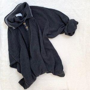 Vintage Slouchy Dolman Henley Knit